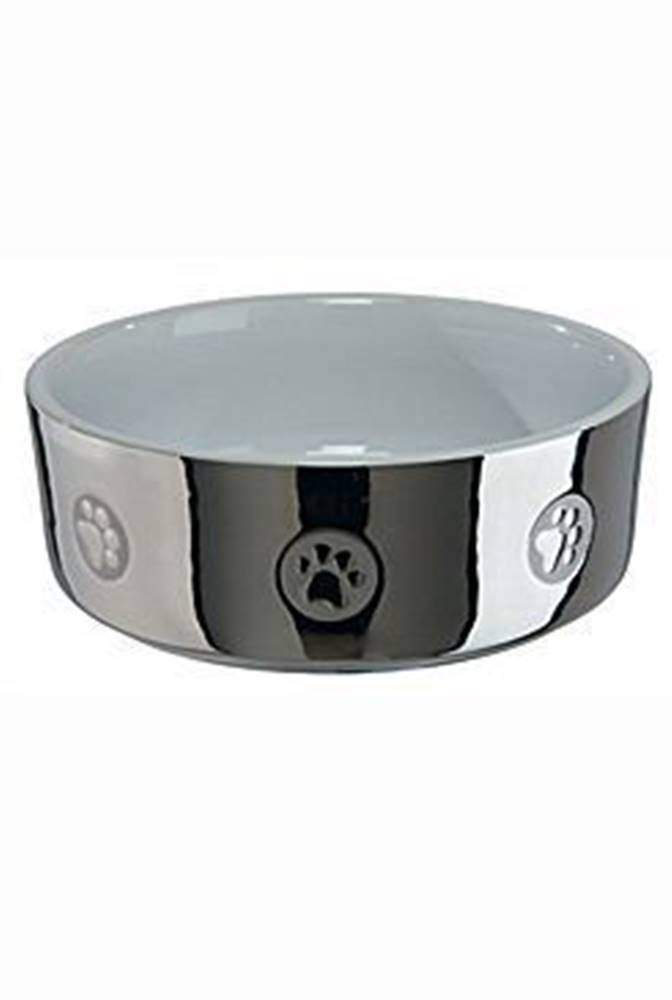 Trixie Miska keramická pes stříbrná s tlapkou 1,5l 19cm TR*