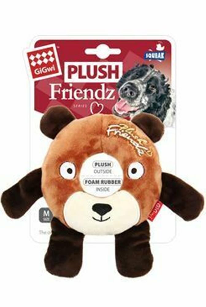 GiGwi Hračka pes GiGwi Plush Friendz medveď s gumovým krúžk