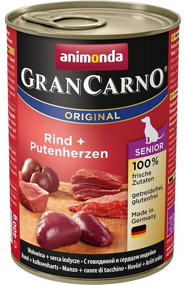 Animonda Animonda dog konzerva Gran Carno Senior hovädzie / morčacie srdcia - 400g
