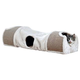 Plyšový tunel pre mačky béžový - 110x30x38cm