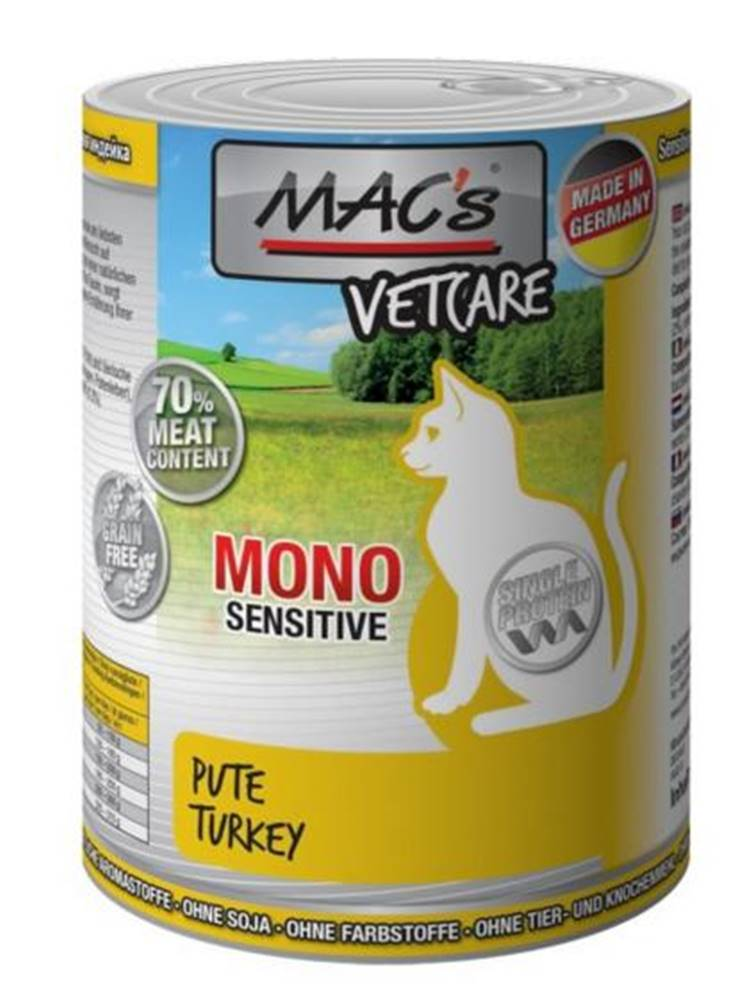 (bez zařazení) MACs  cat  konz. MONO sensitive PUTE/turkey - 200g
