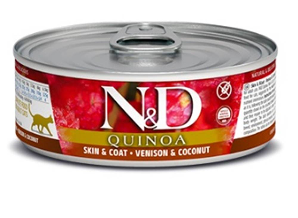 Natural&Delicious N&D cat  konz.  QUINOA venison/COCONUT - 12 x 80g