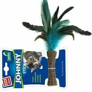 Hračka mačka GiGwi Johnny Stick Catnip s modrými peria