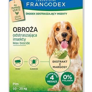 FRANCODEX Obojok odpudzujúci hmyz pre stredne veľké psy - ochrana 4 mesiace, 60 cm