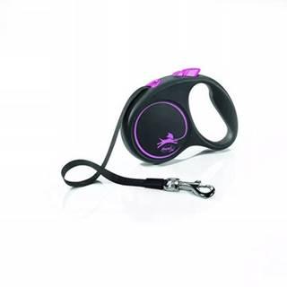 FLEXI Vodítko Black Design M pásik 5 m ružový