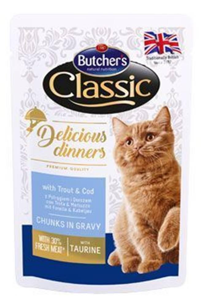 Butcher's Butcher 's Cat Class.Delic.Dinn.pstruh + treska kapsa100g