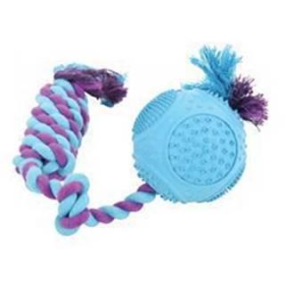 Hračka pes ROPE BALL gumový 33cm mix barev Zolu