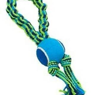 Hračka pes Bungee Slučka s tenisákom modrá / zelená 33cm